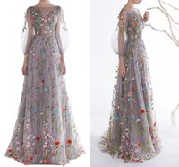 Modern Long Sleeves Prom Dresses 2020 Trendy Floral Embroide...