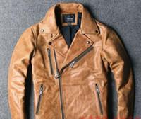 Men' s Retro oil wax yellow Motor Leather Jacket lapel z...