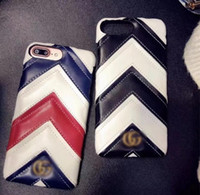 2018 new luxury brand leather stripe phone case for iphone 7...