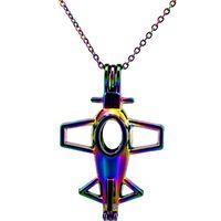 C502 Rainbow Color 43mm Big Airplane Beads Cage Ciondolo Olio Essenziale Diffusore Aromaterapia Collana Gabbia Perla Ciondolo Medaglione