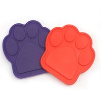 Dog Pet Bath Buddy Silicone Paw Food Bowl Slow Eating Bath F...