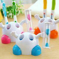 Porte-rack à brosse à dents coiffé avec minuterie de sable 3 minutes Sablier Compte à rebours