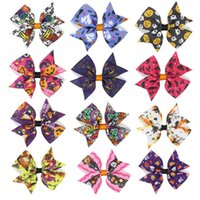 Halloween Kids Hairpin Bowknot Jewelry Ribbon Christmas Festival Stampa di cartoni animati Barrette di capelli per bambini Kindgarten School Party Hair Pins