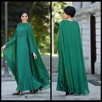 2018 Dubaï arabe musulman robes de soirée formelles manches longues en mousseline de soie étage longueur femmes parti robe de bal avec capuchon robe de mère de Festa