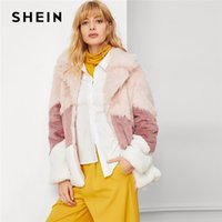 SHEIN Multicolor Elegant Office Lady Faux Fur Color Block Fa...
