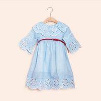 Le ragazze coreane di estate del pannello esterno dei bambini di usura dei bambini 2018 si vestono il vestito dai bambini dei grandi del merletto del cotone che spedice liberamente