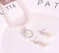 Горячие новые ювелирные изделия Установите мода жемчужное ожерелье серьги и серьги набор ювелирных изделий 2-х частей моды классическая изысканная элегантность