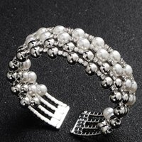 Pearl bracelet multilayer elastic opening bracelet with diamond bracelet pearl u size 5.5*2 weight 14g handmade