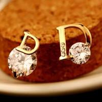 Zirkon-Ohrringe für Frauen Hochzeit Schmuck 18K Gold überzog Buchstabe D Muster-Bolzen-Ohrringe Korean Modeschmuck Zubehör Hohe Qualität