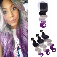 Dark Roots Grey Purple Ombre Wavy Hair Weaves with Lace Clos...