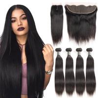 Ofertas de paquetes de cabello virgen recto brasileño Remy Armadura de cabello humano 4 paquetes con cierre 13x4 Paquetes frontales de encaje Cuerpo profundo Onda Rizado rizado
