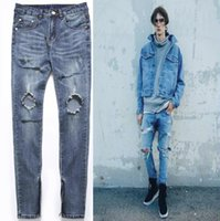 Mens Big Hole Beggar Jeans Men Solid Blue Casual Skinny Ripp...
