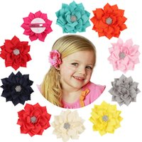 13 Color Girls cloth Flower hairpins acrylic Rhinestones Sol...