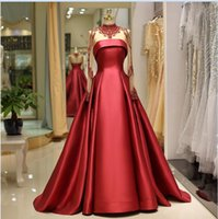 2019 sexy red beaded high neck prom gowns customize long sle...
