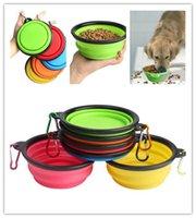 جديد المحمولة قابلة للطي سيليكون الأطباق الحيوانات الأليفة مع هوك قابل للسحب السفر لطي القط الكلب مغذيات المياه في الهواء الطلق طبق تغذية وعاء
