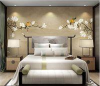 3d номер обои пользовательские фото нетканые фрески новый китайский цветок магнолии ручная роспись цветы и птицы wal обои для стен 3 d
