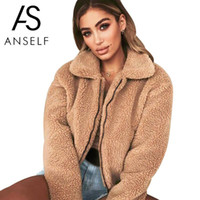 Anself Casual Faux Fur Coat Donna 2018 Autunno Inverno Donne eleganti Sciolto Caldo Outwear morbido Cerniera Teddy Soprabito Teddy Jacket