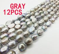 ece4545bda20 12pcs   LOT cuentas sueltas bricolaje joyería de lujo de las mujeres gris  perlas de agua dulce cultivadas barroco 7-8mm cuentas de perlas naturales  15