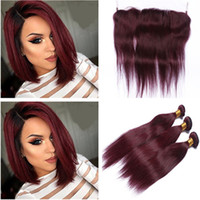 Virgin Malaysian Human Hair Burgundy Weave Bundles with Fron...