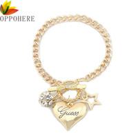 Bracciale con ciondolo a catena a forma di bracciale con ciondolo a forma di cuore in argento placcato oro