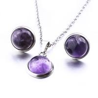Moda Piedra Natural Turuoise Druzy Drusy Pendientes Collar 10mm 12mm opal rosa cristal pendientes de acero inoxidable collar conjunto de joyas
