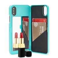 Caso para a apple iphone x novo luxo espelho da composição da aleta slot para cartão wallet tampa traseira tampa do telefone shell para iphone8 7 6 plus