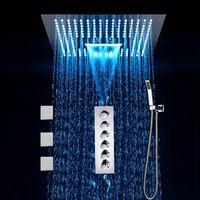 5 기능 LED 샤워 세트 욕실 숨겨진 빗 마사지 폭포 안개 스파 샤워 헤드 바디 제트 스퀘어 + 핸드 샤워