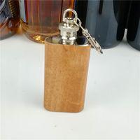 Длинная секция из натурального дерева в упаковке 2 унции из нержавеющей стали мини-фляжка 10 шт. / Лот