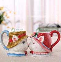 Thé tasse à café en céramique Maneki Neco mug Home Decor artisanat chambre décoration porcelaine Lucky Cat oiseau figurine cadeaux Mariage décoration