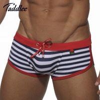 Taddlee Marca Mens Homem Swimwear Maiôs Homens Swim Ternos Boxer Shorts Troncos Natação Surf Board Shorts Gay Penis Bolsa Wj