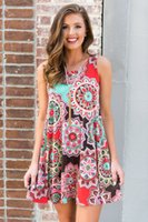 Frauen Blumendruck Ärmelloses Kleid mit Element Druck Boho Kleid Abendkleid Party Maxi-Kleid Sommer Sommerkleid Tageskleider