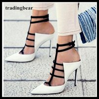 Sexy black white T strappy pointed toe high heels pumps offi...