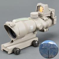 Trijicon ACOG 4X32 تان التكتيكية ريال الألياف البصرية الأخضر مضيئة تلسكوب الموازاة تان البصر ريد دوت الصيد riflescope