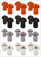 Magliette da uomo personalizzate da uomo San Francisco Giants Jersey # 9 Brandon Belt 9 Matt Williams 15 Bruce Bochy 25 Barry Bonds da baseball arancione