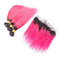 Ombre Pink Virgin Menschenhaar spinnt Erweiterungen mit Frontal Free Teil # 1B Pink Seidig gerade Spitze Frontal Schließung mit 3 Bundles