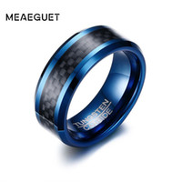 Meaeguet Trendy 8 MM Azul Anillo de Carburo de Tungsteno Para Hombres Joyería Bandas de Boda de Fibra de Carbono Negro EE. UU. Tamaño S18101607
