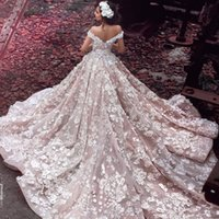 Wonderland Bridal Dresses With 3D-Floral Appliques Beads Off Shoulder Vestido de noiva sem mangas Vestido de noiva Glamorous Saudi Princess Wedding Dr