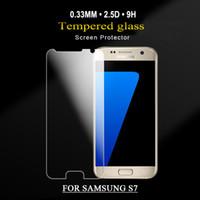Protecteur d'écran de verre trempé de dureté 9h pour le protecteur d'écran de téléphone portable de bord de S6 de galaxie de Samsung / Samsung plus / s7