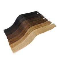 Le meilleur ruban 10A dans des prolongements de cheveux 100% originaux de cheveux de Remy humains vierges de pleine cuticule 200g / 80 PCs colorés trame la bande d'unité centrale sur l'extension de cheveux