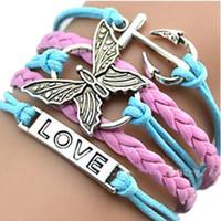 Unendlich Charme Armbänder Leder Armbänder Kreative Handgemachte Seil Schmetterling Boot Anker LIEBE Heißer Verkauf Mode MultilayerJewelry