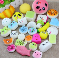 10pcs / lot Jumbo Medium Mini Slow Rising Kawaii Squishy Gâteau / Panda / Pain / Pains Sangles De Téléphone