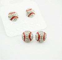 Pacchetto 10 Paia Impermeabile High Qulity Softball Earrings Stud Crystal Strass Post Silver Bling Giallo Fastpitch 14mm Sport e moda