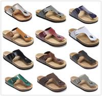 Новый известный бренд Gizeh мужчины Брик плоский каблук вьетнамки женщины натуральная кожа повседневные сандалии с пряжкой мода лето пляж пробковые туфли