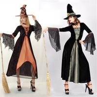 Costume de sorcière d'Halloween adulte femme sorcière Cosplay Party Act Out Vêtements Dress Fashion Noble femmes robe