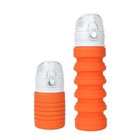 Katlanır Silikon Su Şişesi Katlanabilir BPA Ücretsiz Açık Havada Seyahat Kamp Yürüyüş için Geri Çekilebilir Su Isıtıcısı 500 ml Logo Özel