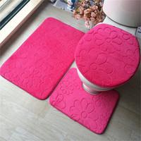 3 pcs / set flanela antiderrapante banho almofadas macias Absorção de Água Anti-derrapante Tapete 10 estilos estão disponíveis para a escolha WC Mats tapetes para banheiro