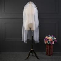 Nova Chegada Mulheres Fotos Reais Curto Branco Marfim Véus Do Casamento Dois Camadas Véus Nupciais Venda Quente Acessório de Casamento Barato para Net Net