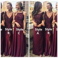 Custom Online Burgund Strand Boho Billig Brautjungfer Kleid 2019 Spitze Sexy Front Side Split Party Kleider Abendkleidung Vestidos de Brautjungfern