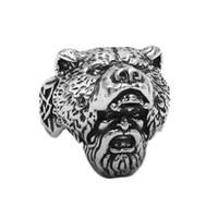 Livraison gratuite Norse Viking Ours Homme Bague En Acier Inoxydable Bijoux Crâne Animal Vintage Celtic Noeud Biker Hommes Anneau En Gros 843B