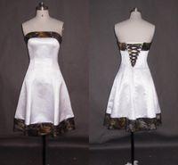 Простые короткие камуфляжные свадебные платья дешевые 2021 без бретелек шнурок обратно в линию сатинированной ткани для невесты плюс размер без дополнительных свадебных платьев